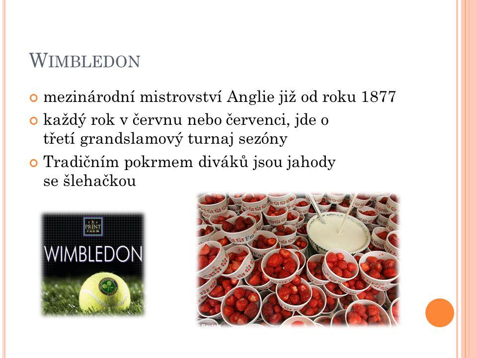 Wimbledon mezinárodní mistrovství Anglie již od roku 1877
