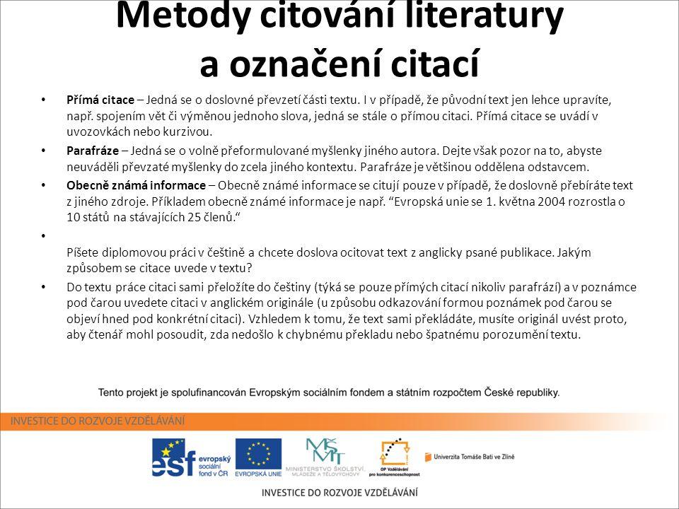 Metody citování literatury a označení citací