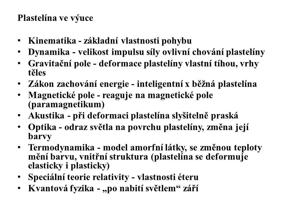 Plastelína ve výuce Kinematika - základní vlastnosti pohybu. Dynamika - velikost impulsu síly ovlivní chování plastelíny.