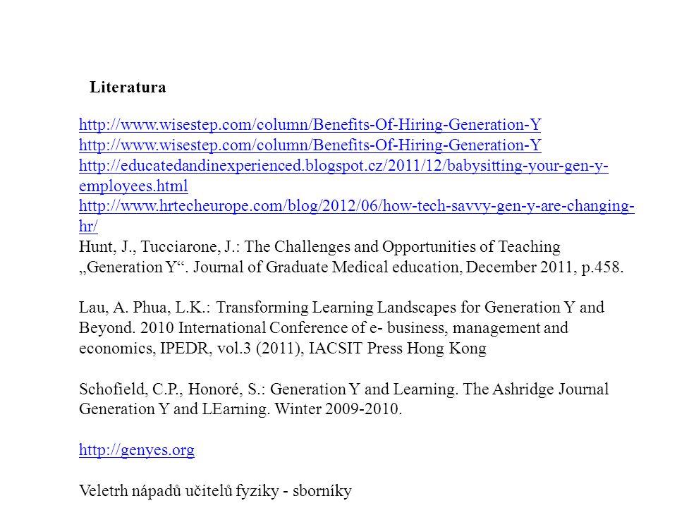 Literatura http://www.wisestep.com/column/Benefits-Of-Hiring-Generation-Y.
