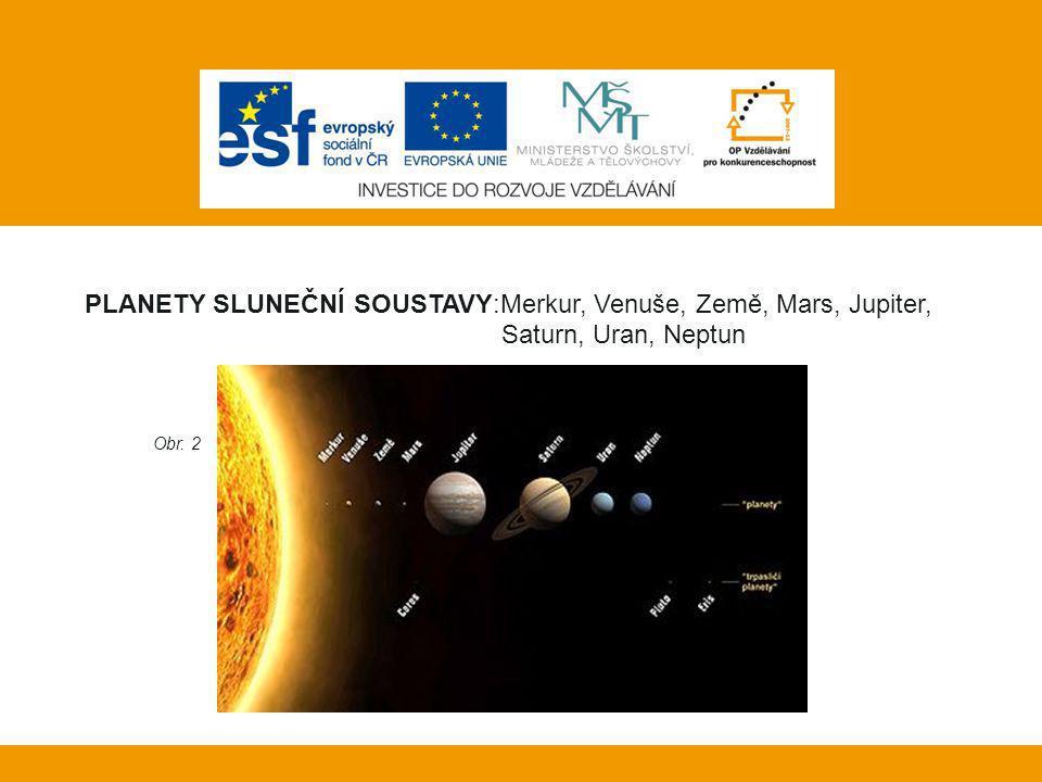 Planety Sluneční soustavy:Merkur, Venuše, Země, Mars, Jupiter,