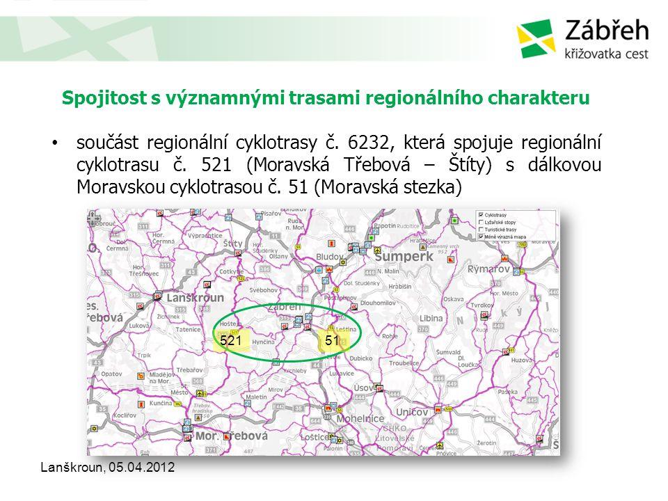 Spojitost s významnými trasami regionálního charakteru