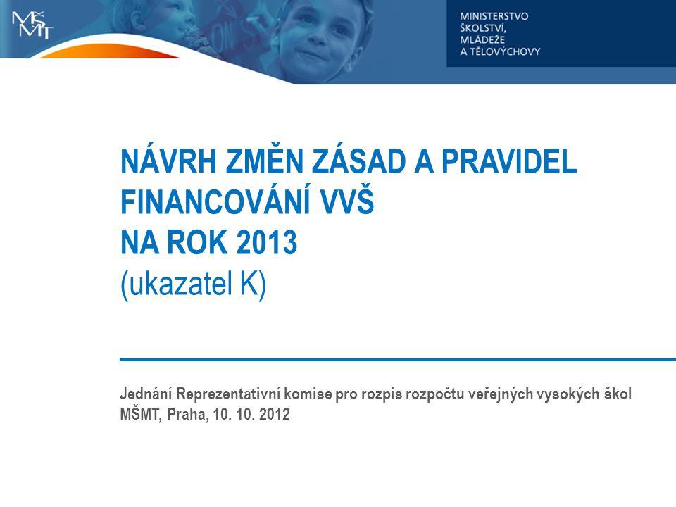 NÁVRH ZMĚN ZÁSAD A PRAVIDEL FINANCOVÁNÍ VVŠ NA ROK 2013 (ukazatel K)
