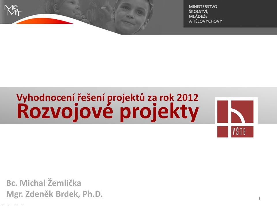 Vyhodnocení řešení projektů za rok 2012 Rozvojové projekty