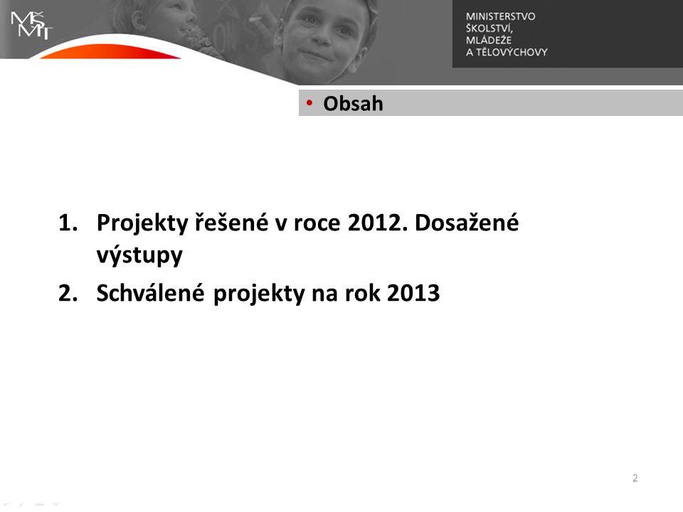 Projekty řešené v roce 2012. Dosažené výstupy