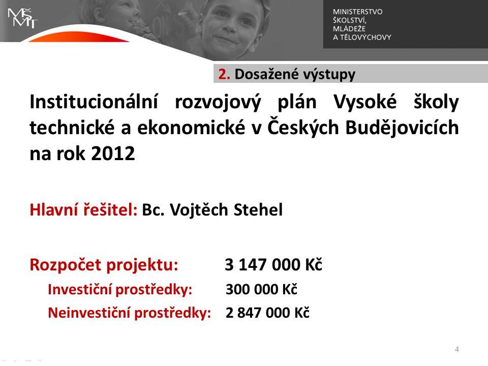 2. Dosažené výstupy Institucionální rozvojový plán Vysoké školy technické a ekonomické v Českých Budějovicích na rok 2012.