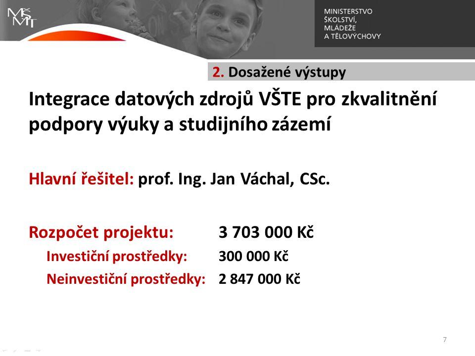 2. Dosažené výstupy Integrace datových zdrojů VŠTE pro zkvalitnění podpory výuky a studijního zázemí.