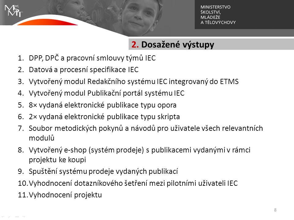 2. Dosažené výstupy DPP, DPČ a pracovní smlouvy týmů IEC