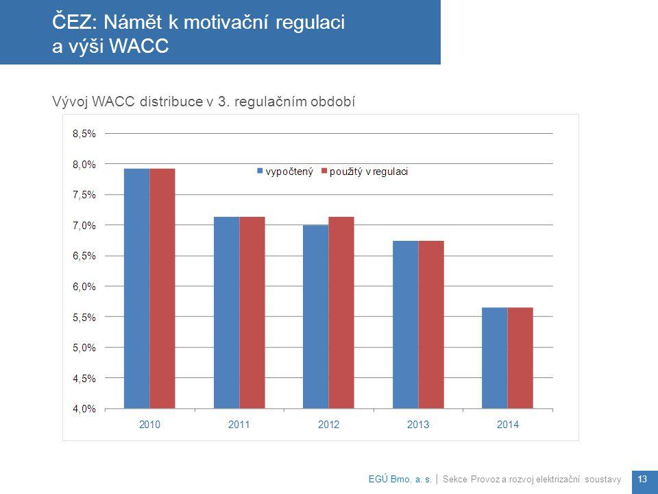 ČEZ: Námět k motivační regulaci a výši WACC