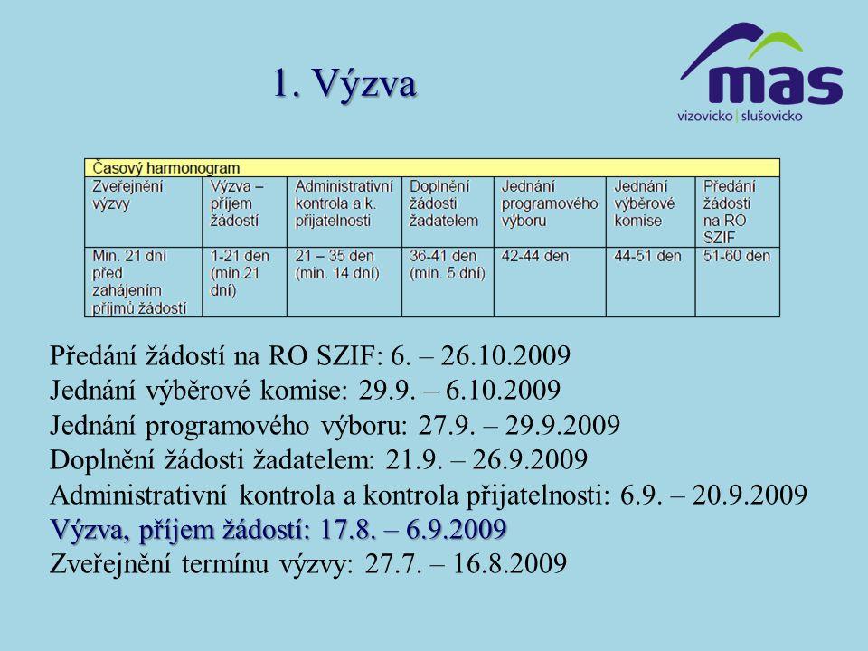 1. Výzva Předání žádostí na RO SZIF: 6. – 26.10.2009