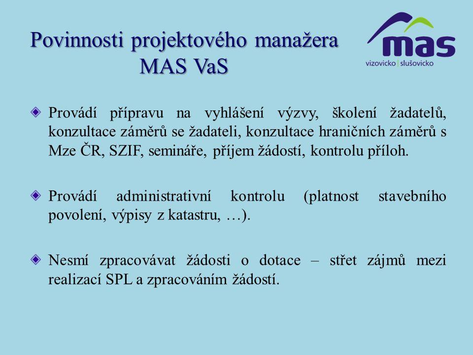 Povinnosti projektového manažera MAS VaS