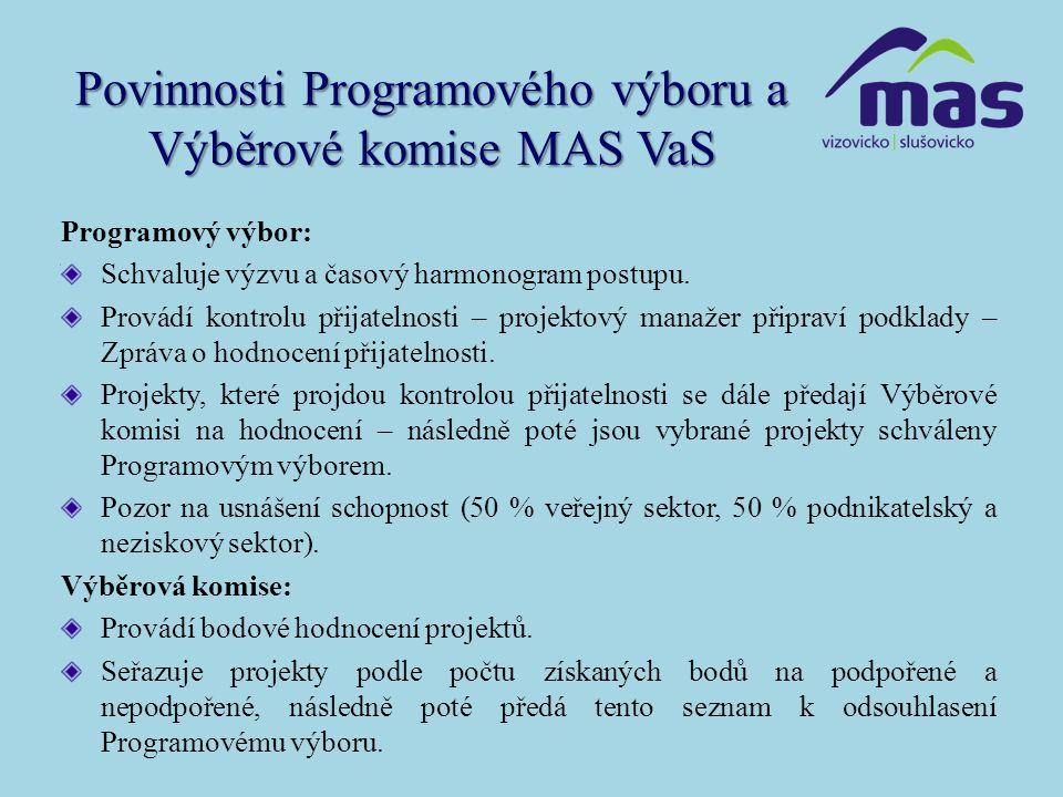 Povinnosti Programového výboru a Výběrové komise MAS VaS