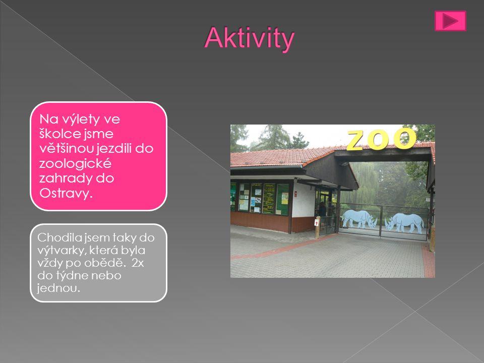 Aktivity Na výlety ve školce jsme většinou jezdili do zoologické zahrady do Ostravy.