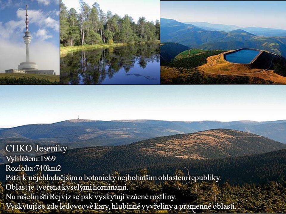 CHKO Jeseníky Vyhlášení:1969 Rozloha:740km2