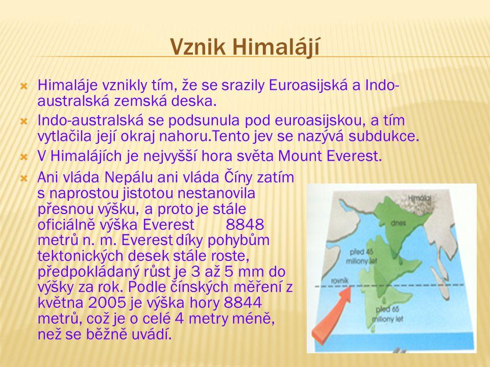 Vznik Himalájí Himaláje vznikly tím, že se srazily Euroasijská a Indo-australská zemská deska.