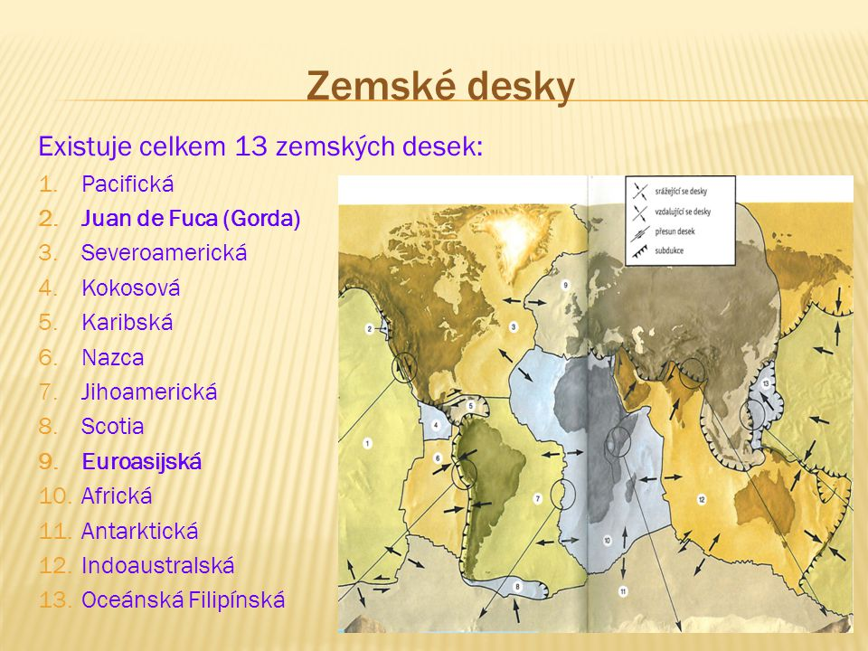 Zemské desky Existuje celkem 13 zemských desek: Pacifická