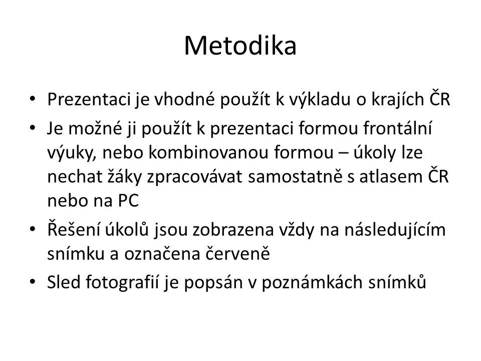 Metodika Prezentaci je vhodné použít k výkladu o krajích ČR