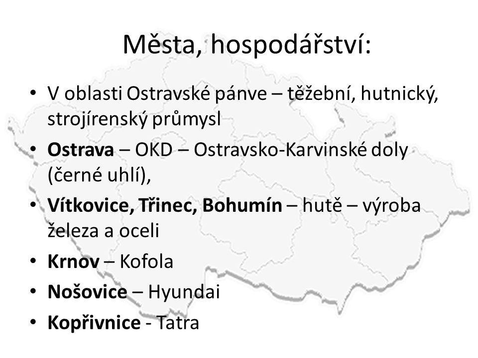 Města, hospodářství: V oblasti Ostravské pánve – těžební, hutnický, strojírenský průmysl. Ostrava – OKD – Ostravsko-Karvinské doly (černé uhlí),