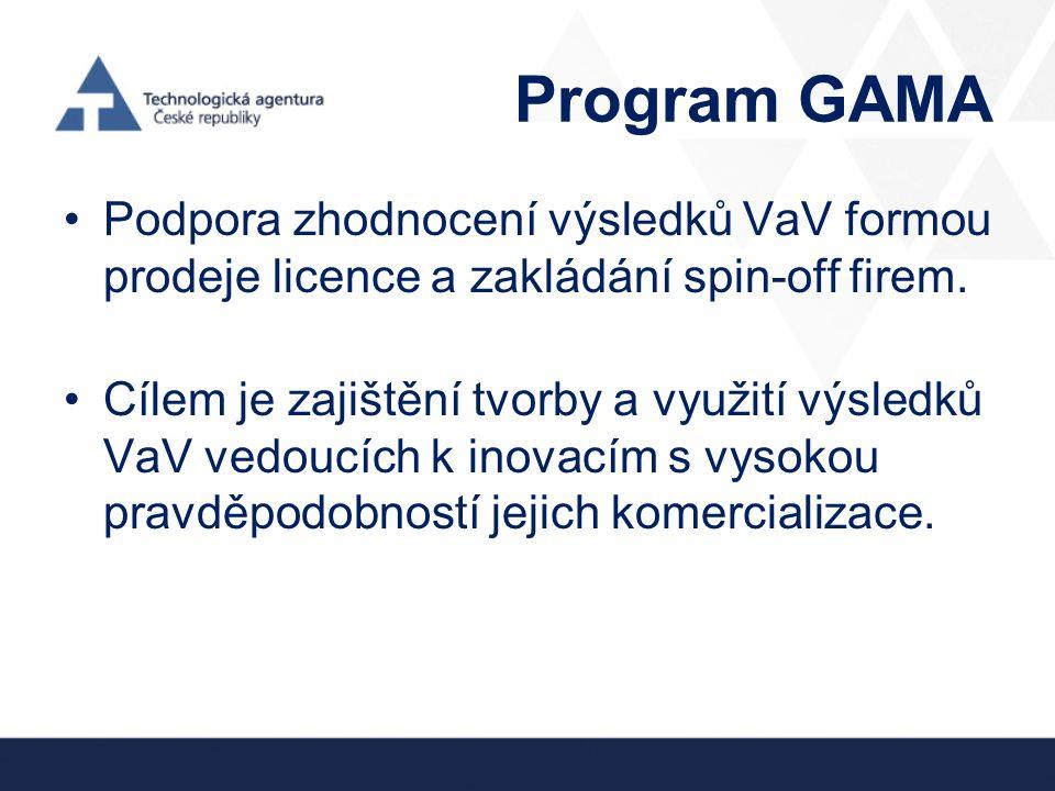 Program GAMA Podpora zhodnocení výsledků VaV formou prodeje licence a zakládání spin-off firem.