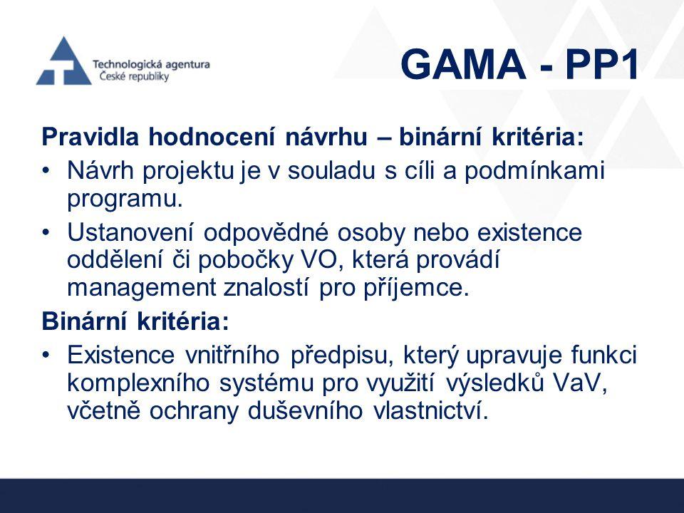 GAMA - PP1 Pravidla hodnocení návrhu – binární kritéria: