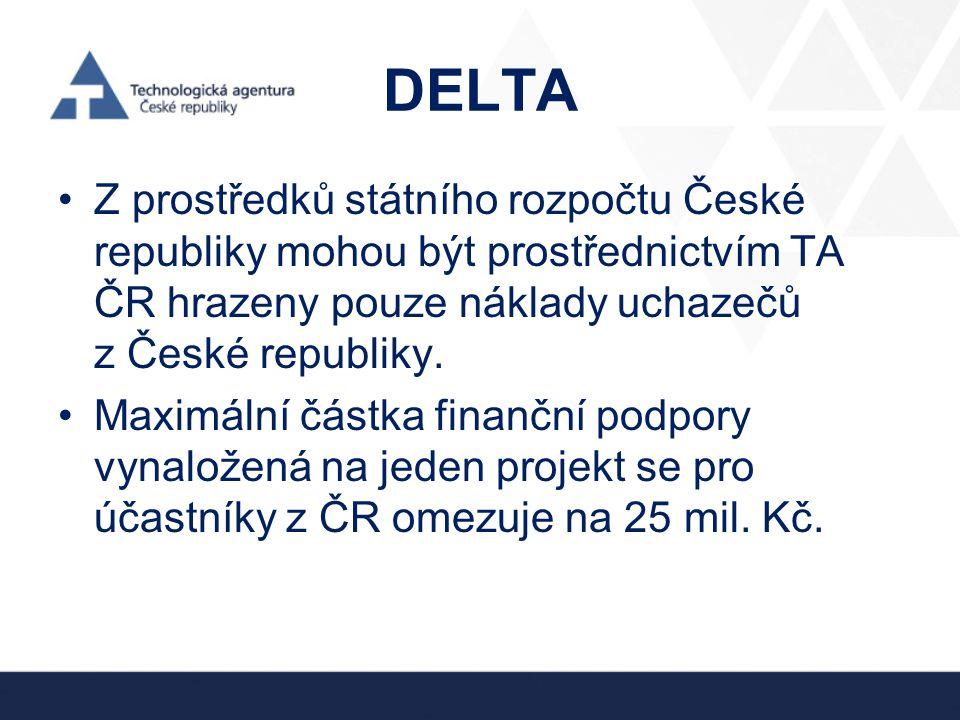 DELTA Z prostředků státního rozpočtu České republiky mohou být prostřednictvím TA ČR hrazeny pouze náklady uchazečů z České republiky.