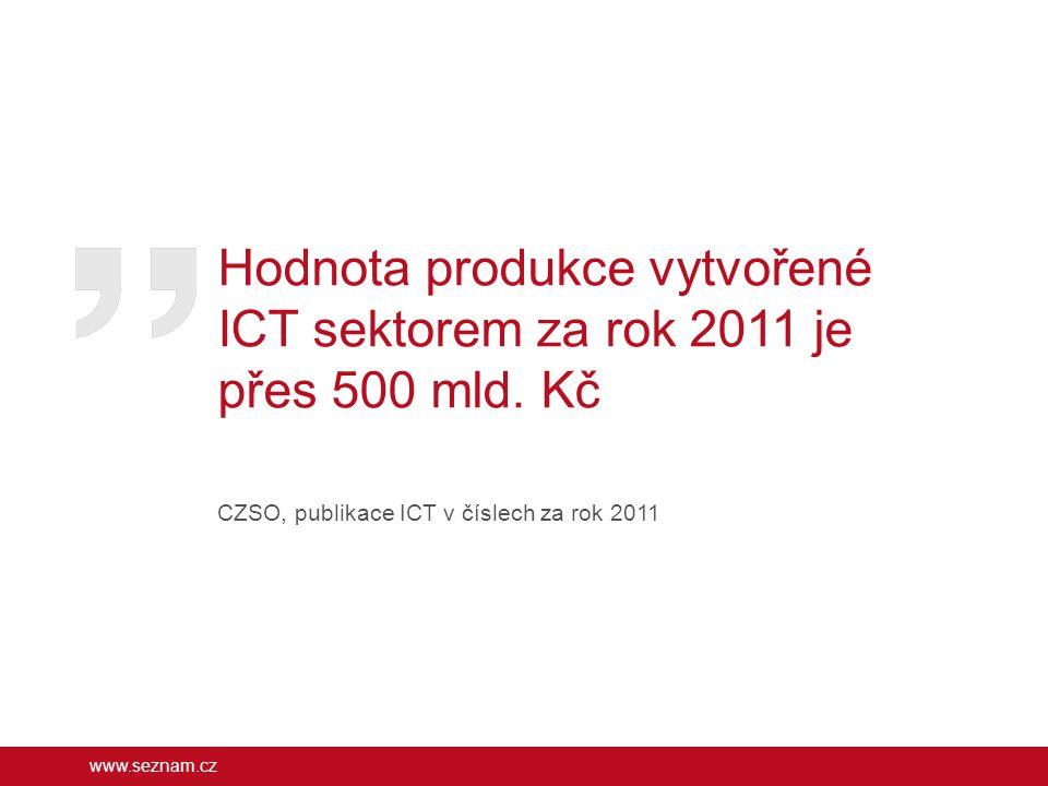Hodnota produkce vytvořené ICT sektorem za rok 2011 je přes 500 mld. Kč