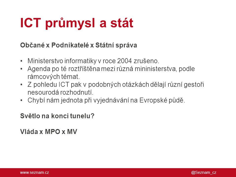 ICT průmysl a stát Občané x Podnikatelé x Státní správa