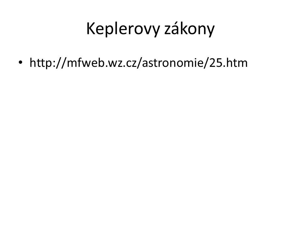 Keplerovy zákony http://mfweb.wz.cz/astronomie/25.htm