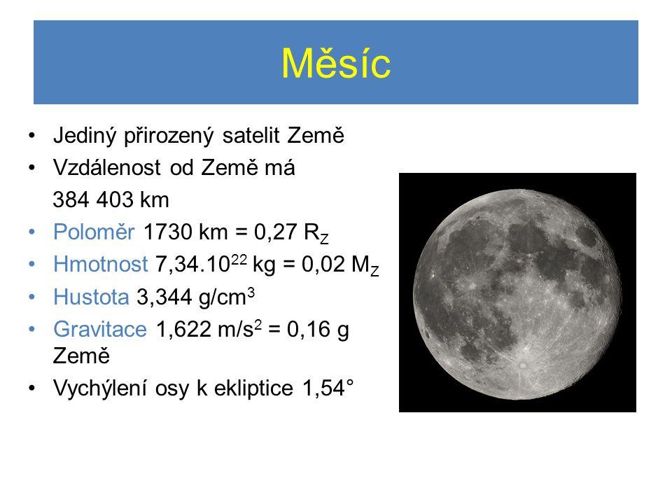 Měsíc Jediný přirozený satelit Země Vzdálenost od Země má 384 403 km