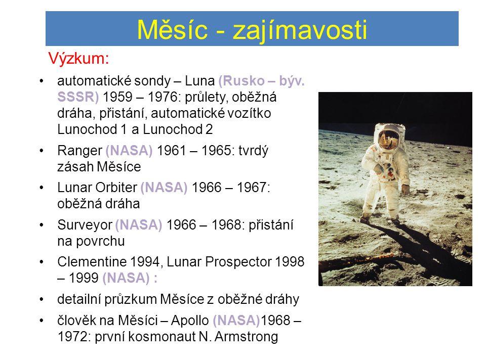 Měsíc - zajímavosti Výzkum: