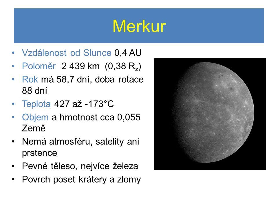 Merkur Vzdálenost od Slunce 0,4 AU Poloměr 2 439 km (0,38 Rz)