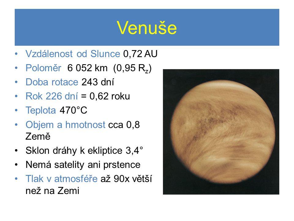Venuše Vzdálenost od Slunce 0,72 AU Poloměr 6 052 km (0,95 Rz)