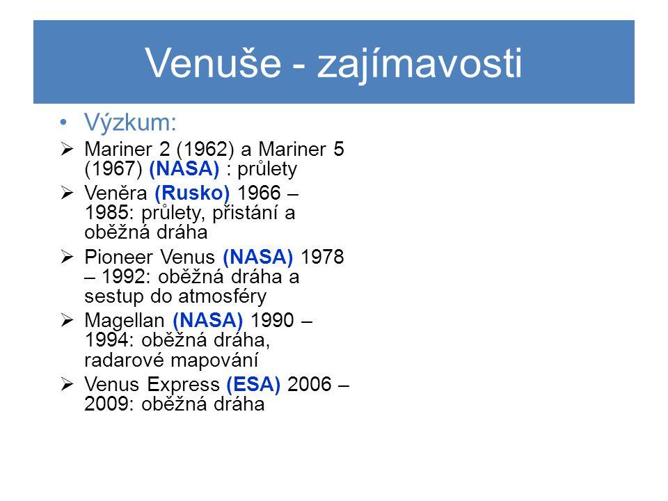 Venuše - zajímavosti Výzkum: