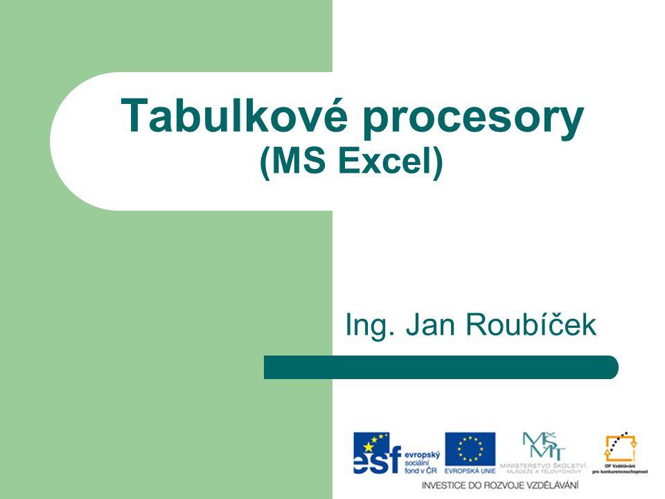 Tabulkové procesory (MS Excel)