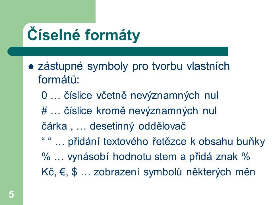 Číselné formáty zástupné symboly pro tvorbu vlastních formátů: