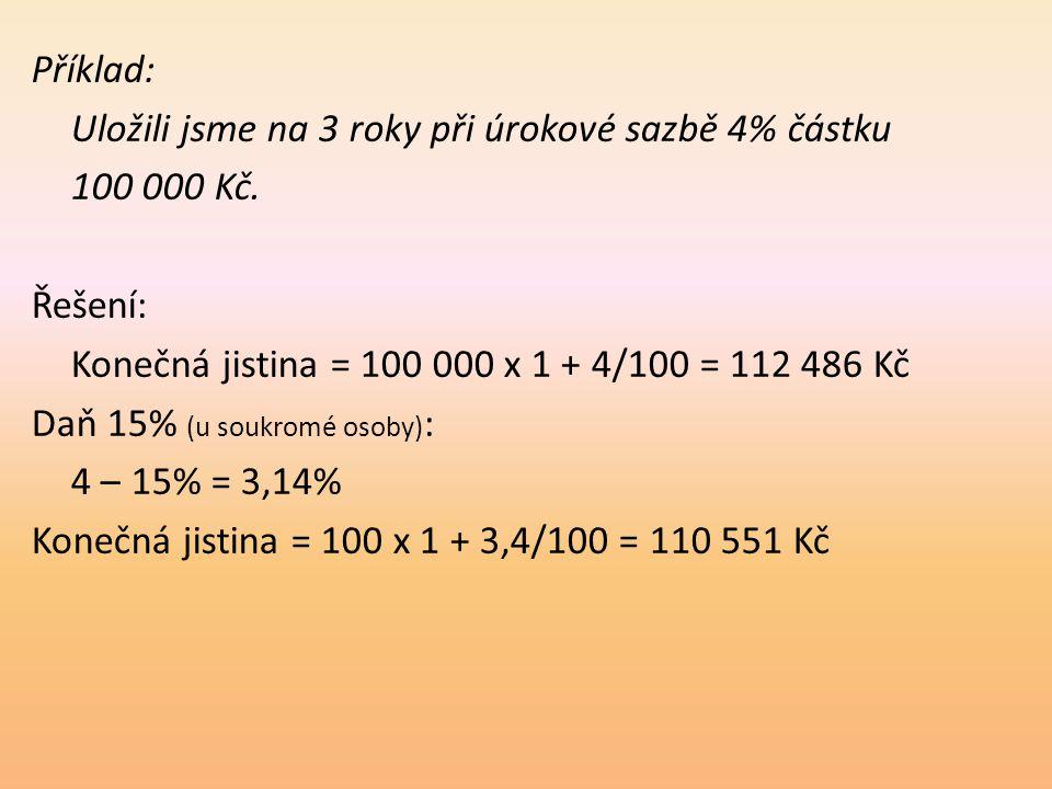 Příklad: Uložili jsme na 3 roky při úrokové sazbě 4% částku 100 000 Kč