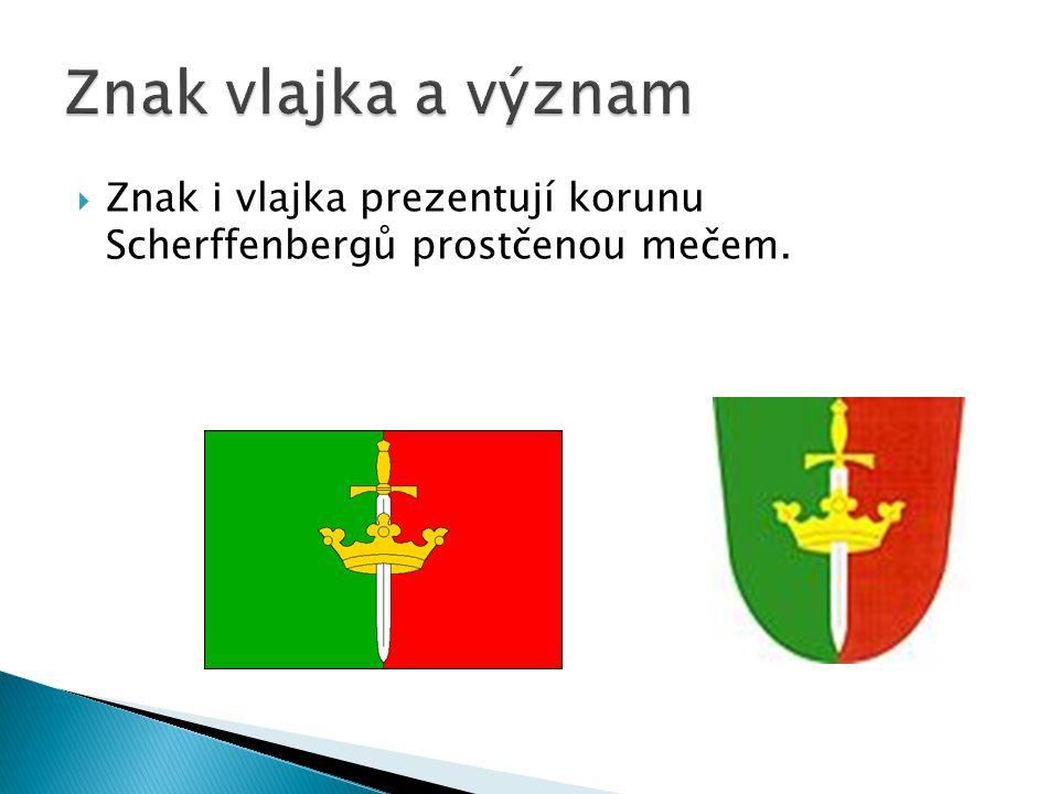 Znak vlajka a význam Znak i vlajka prezentují korunu Scherffenbergů prostčenou mečem.