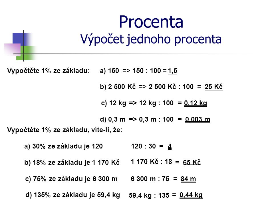 Procenta Výpočet jednoho procenta