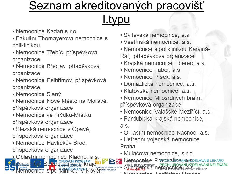 Seznam akreditovaných pracovišť I.typu