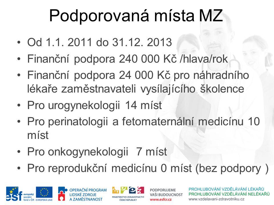 Podporovaná místa MZ Od 1.1. 2011 do 31.12. 2013