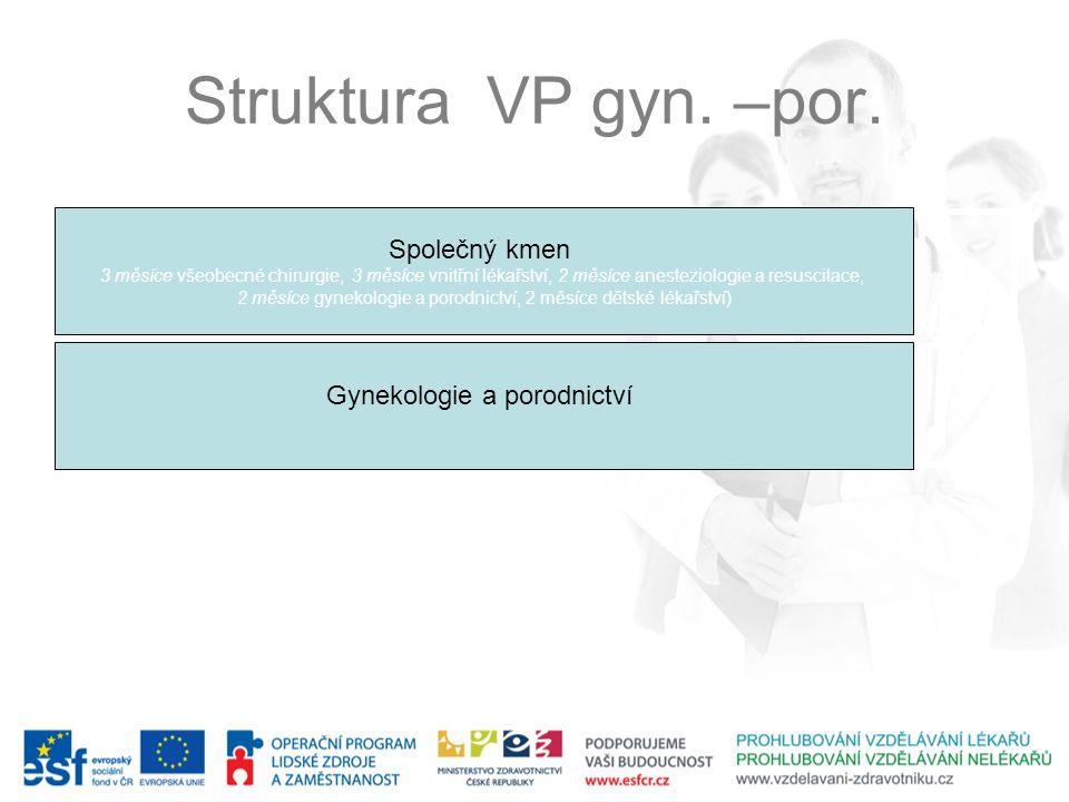 Struktura VP gyn. –por. Společný kmen Gynekologie a porodnictví 12 m.