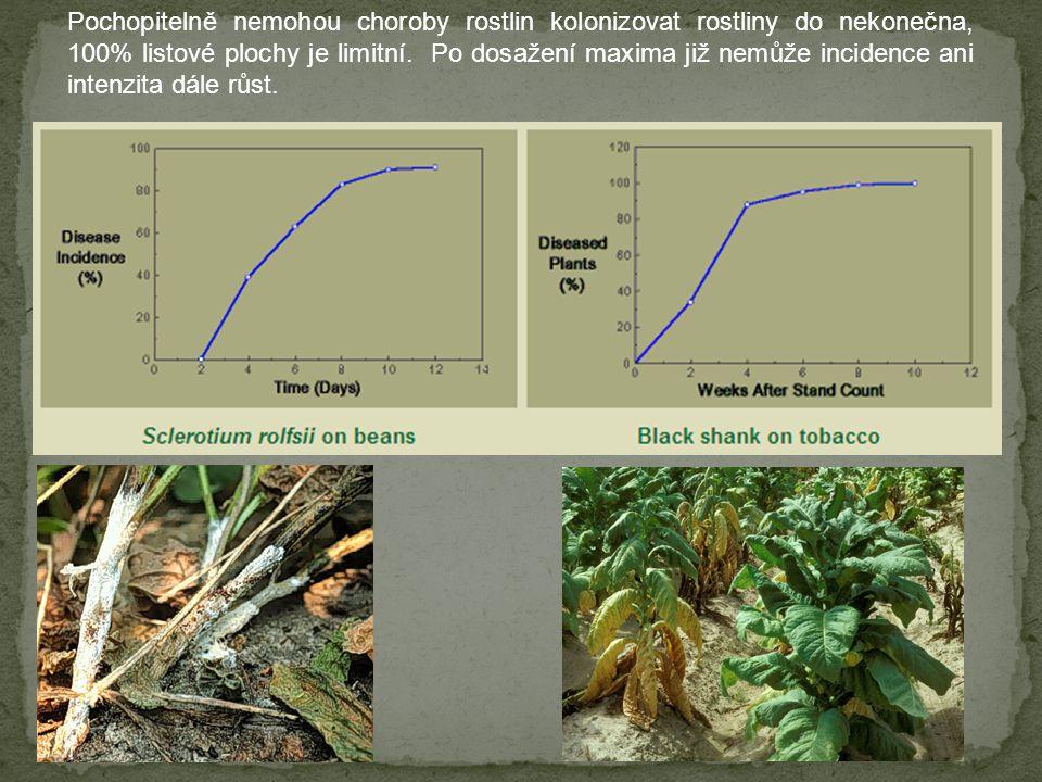 Pochopitelně nemohou choroby rostlin kolonizovat rostliny do nekonečna, 100% listové plochy je limitní.
