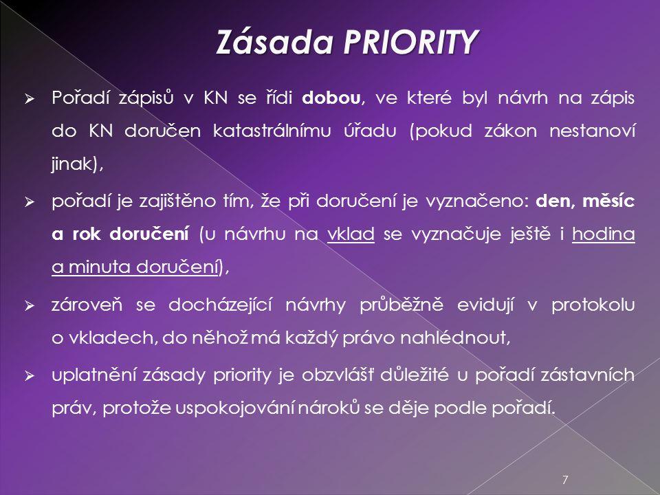 Zásada PRIORITY Pořadí zápisů v KN se řídi dobou, ve které byl návrh na zápis do KN doručen katastrálnímu úřadu (pokud zákon nestanoví jinak),