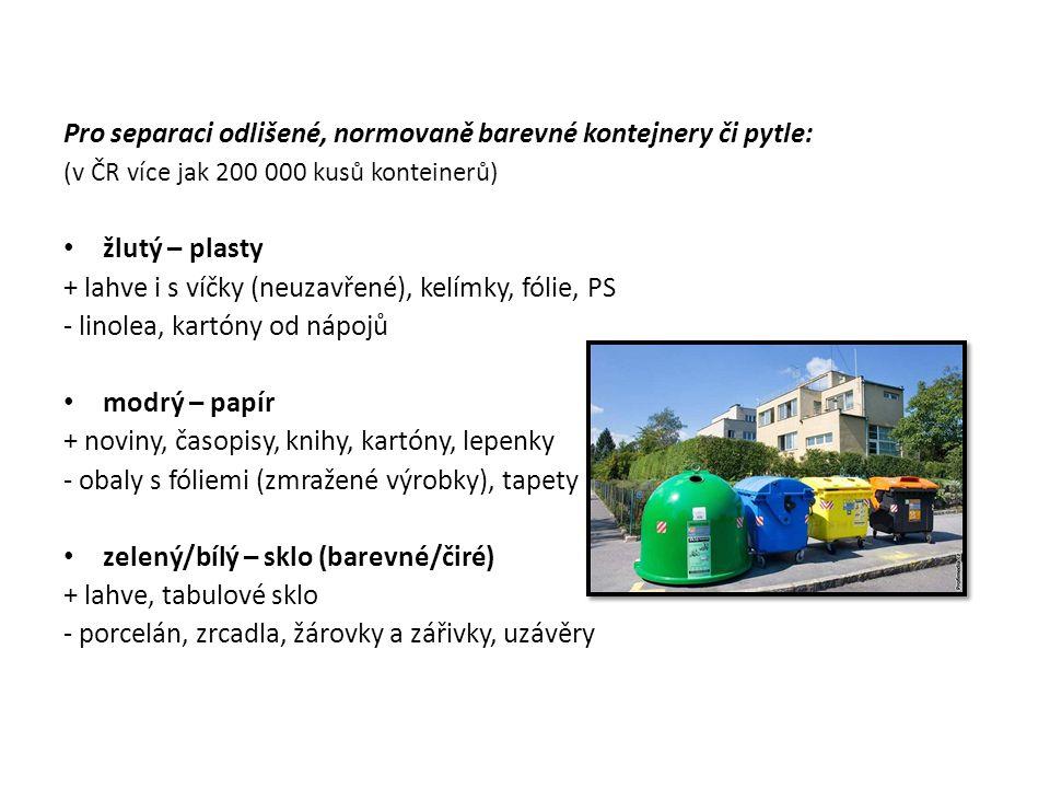 Pro separaci odlišené, normovaně barevné kontejnery či pytle: