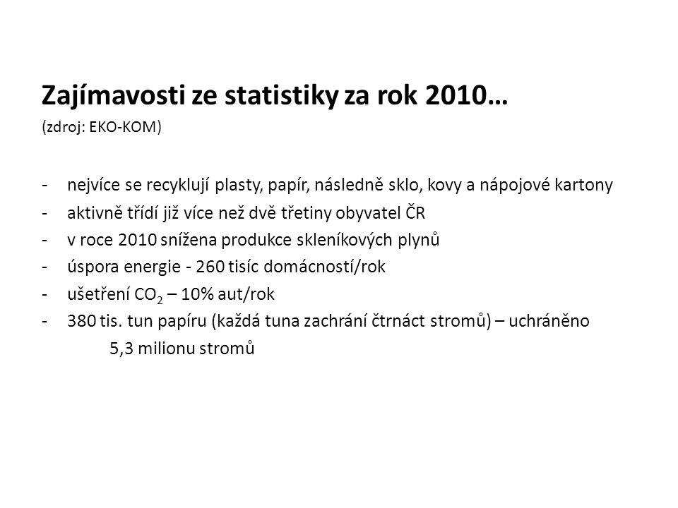 Zajímavosti ze statistiky za rok 2010…