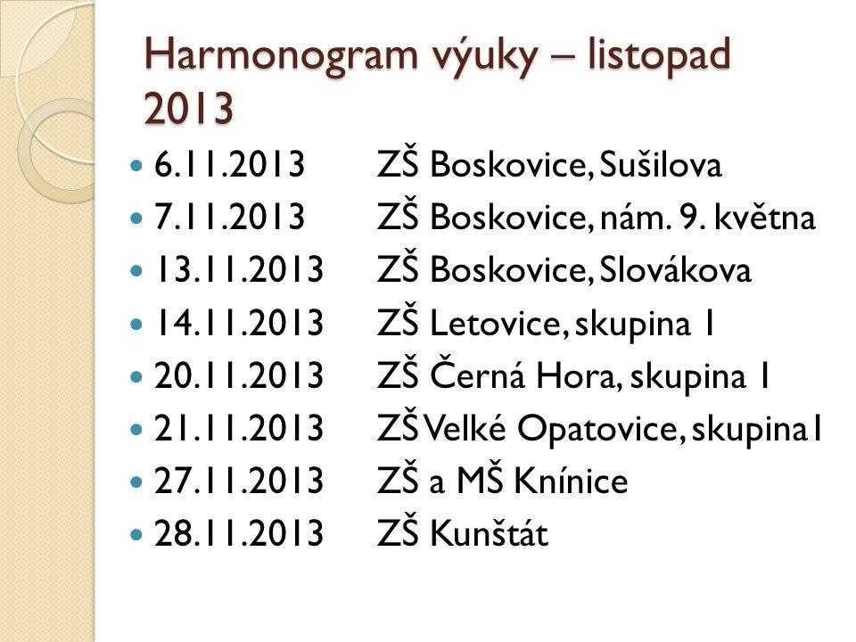 Harmonogram výuky – listopad 2013