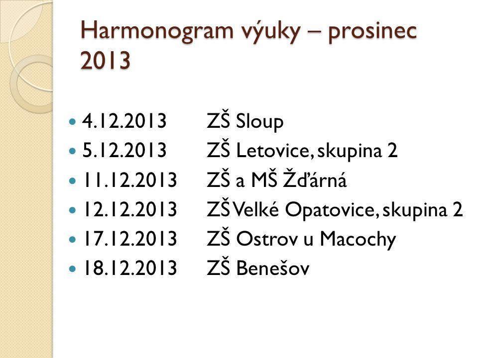 Harmonogram výuky – prosinec 2013