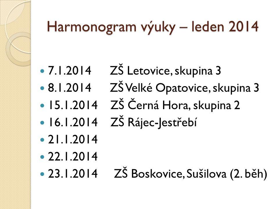 Harmonogram výuky – leden 2014