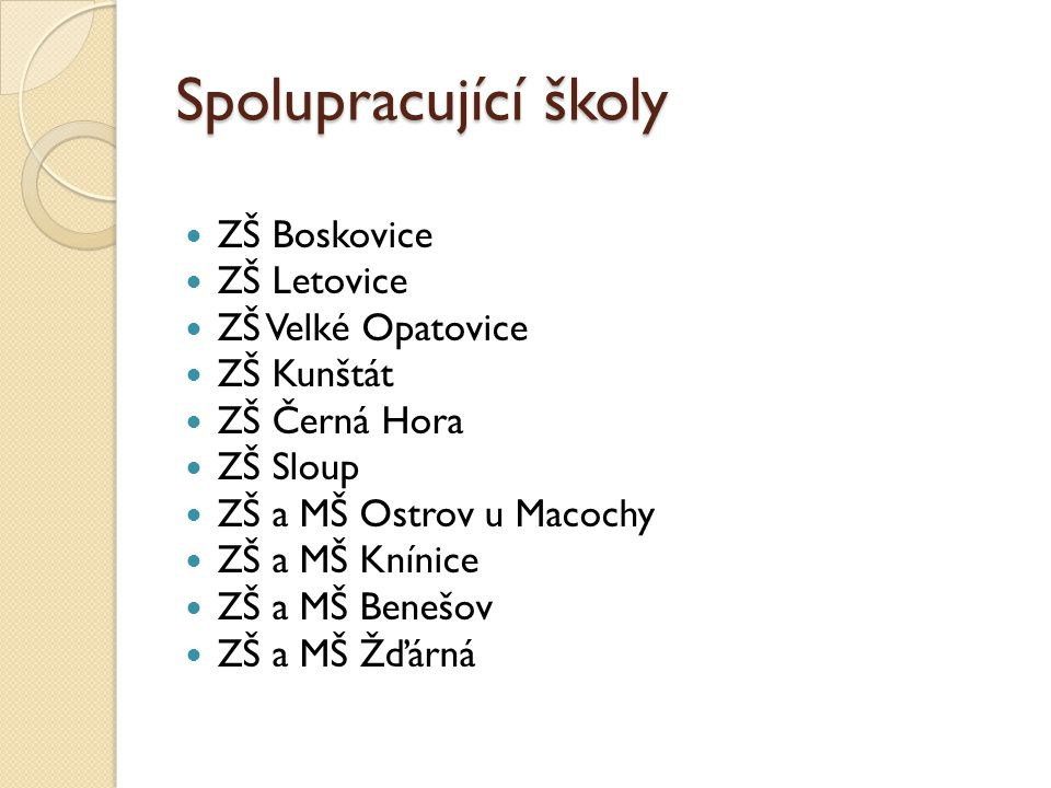 Spolupracující školy ZŠ Boskovice ZŠ Letovice ZŠ Velké Opatovice