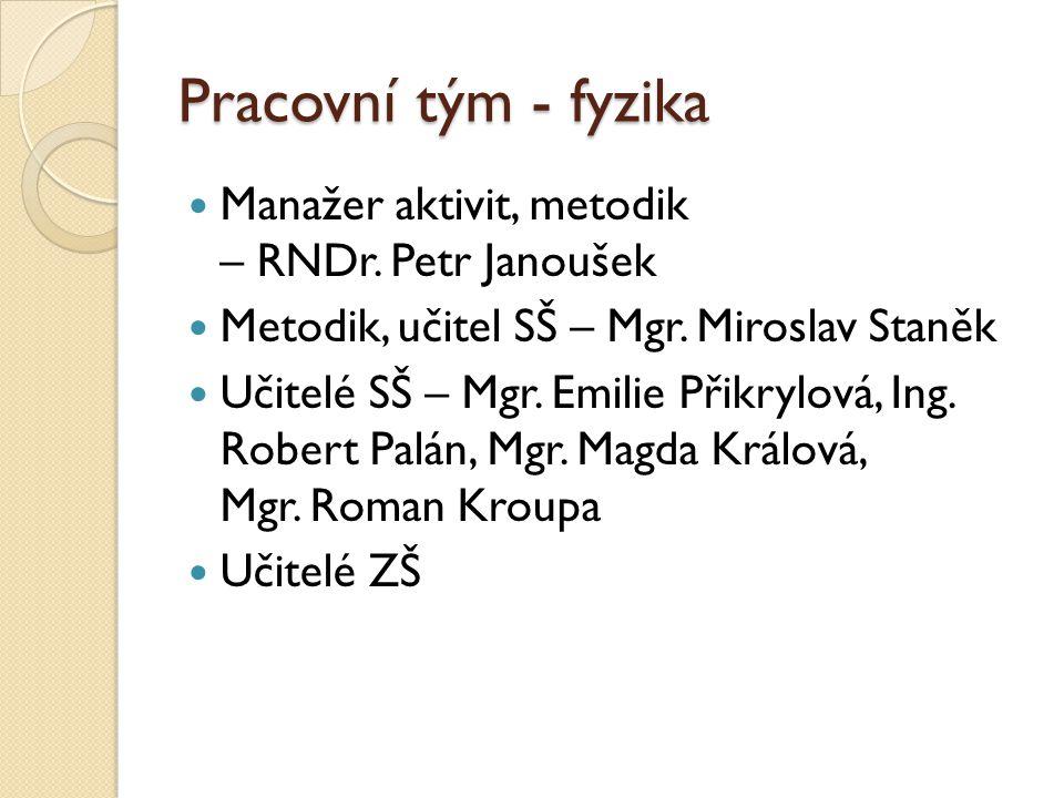 Pracovní tým - fyzika Manažer aktivit, metodik – RNDr. Petr Janoušek